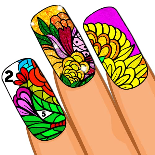 Nails Color By Number - Sparkly Nail Polish Design Art