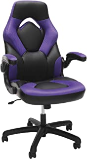 OFM Essentials Collection Racing Style Bonded Leather Gaming Chair, in Purple (ESS-3085-PUR)