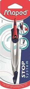 Maped - Compas Maped Stop System - Système de Verrouillage Breveté - Tracé Parfait - Compas Mine Avec Sécurité Protège Pointe Sèche et Mine - Gris