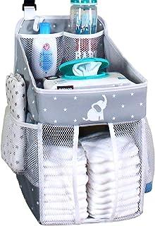 Hanging Diaper Caddy – Crib Diaper Organizer – Diaper Stacker for Crib, Playard or..
