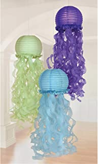 amscan Mermaid Sparkle Hanging Jellyfish Lanterns – 3 pcs, Multi-Colored, One Size