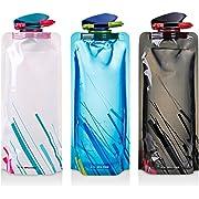Bottiglia di acqua pieghevole Set di 3, bottiglie MAXIN flessibile pieghevole riutilizzabile acqua per escursionismo, Adventures, Viaggi, 700ML.