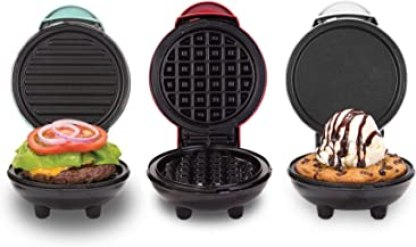 Sponsored Ad - Dash DGMS03GBCL Mini Maker + Grill Griddle + Waffle Iron, 3 pack, Red/Aqua/White