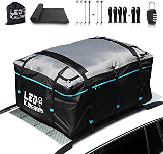 LEDKINGDOMUS Rooftop Cargo Bag, Waterproof 19cft Truck Pickup Cargo Carrier, 600D with..