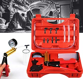 CARSC Hand Held Vacuum Pump Tester Set Vacuum Gauge and Brake Bleeder Kit for Automotive..
