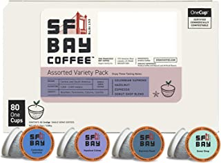 SF Bay Coffee Assorted Variety Pack 80 Ct  Compostable Coffee Pods, K Cup Compatible..