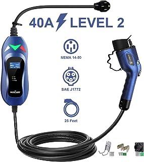 MUSTART Level 2 Portable EV Charger (240 Volt, 25ft Cable, 40 Amp), Electric Vehicle..