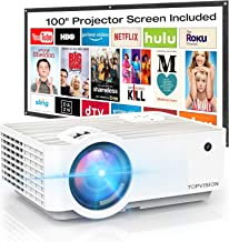"""Video Projector, TOPVISION 4500L Portable Mini Projector with 100"""" Projector Screen,.."""