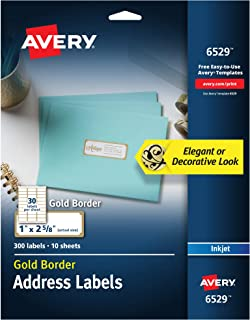 "Avery Address Labels with Gold Border for Inkjet Printers, 1"" x 2-5/8"", 300.."