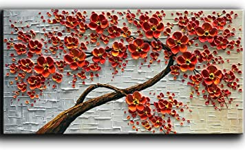 YaSheng Art – Hand-Painted Oil Painting On Canvas Texture Palette Knife Red Flowers..