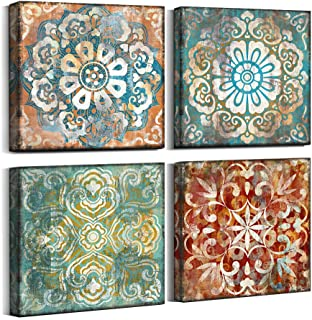 Vintage Flowers Pattern Canvas Prints Wall Art for Bedroom 14×14 inches 4 Pieces..