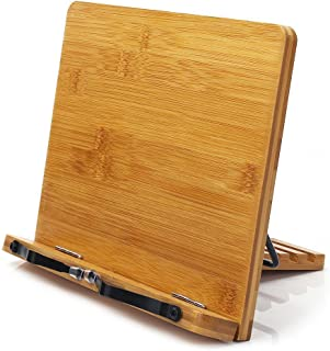wishacc Bamboo Book Stand, Adjustable Book Holder Tray and Page Paper Clips-Cookbook..