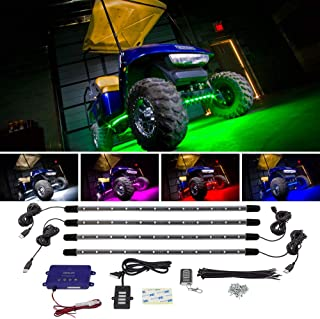 LEDGlow 4pc Standard Million Color LED Golf Cart Underglow Accent Neon Lighting Kit for..