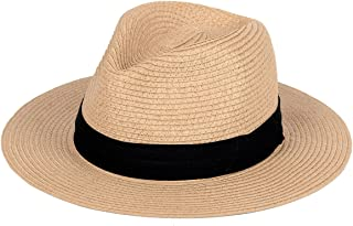 Straw Hat for Women Beach Hats Summer Sun Panama Wide Brim Floppy Fedora Cap UPF50