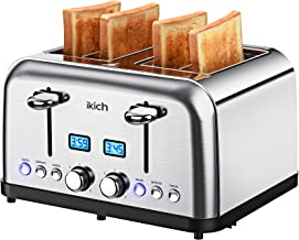 4 Slice Toaster, IKICH Prime Rated Toaster Stainless Steel [Digital Countdown] Toasters(6..