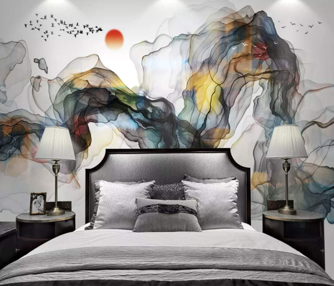 Amazon Com Murwall Abstract Wallpaper Colorful Smoke Wall Mural Watercolor Art Wall Decor Abstract Home Decor Living Room Bedroom Cafe Design Handmade Products