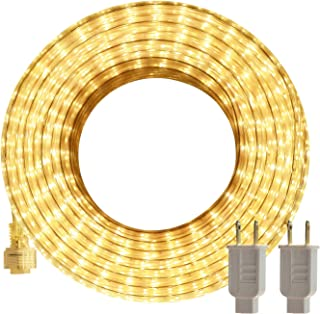 LED Rope Lights Outdoor, SURNIE Warm White 50ft Waterproof Flexible, Strip Lights Kit..