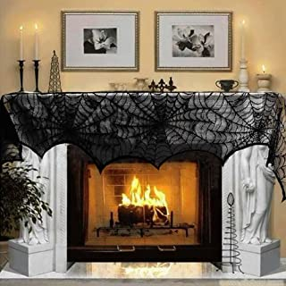 AerWo Halloween Decoration Black Lace Spiderweb Fireplace Mantle Scarf Cover Festive..