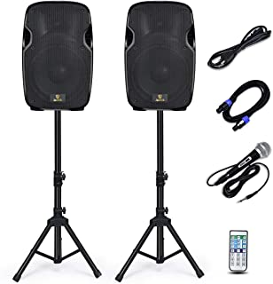 AKUSTIK Dual 2-Way Powered PA Speaker System, Portable DJ Speaker with Active + Passive..