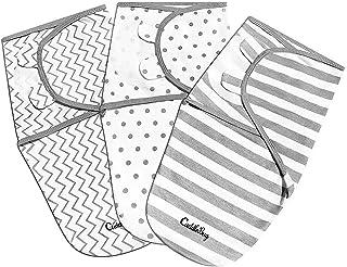 Cuddlebug Adjustable Baby Swaddle Blanket & Wrap (Spots & Stripes), Pack of 3..
