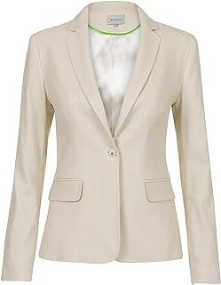 Promiss Be-Lin - Blazer para Mujer, de Lino, de algodón, cómodo, Moderno, Manga Larga, Efecto Jaspeado