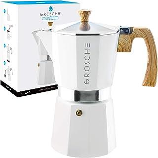 GROSCHE Milano Stovetop Espresso Maker Moka Pot 9 espresso Cup- 15.2 oz, White –..