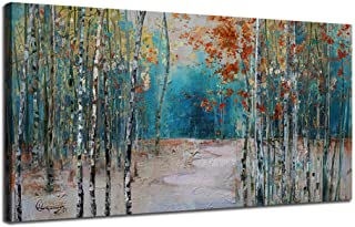 Ardemy Canvas Wall Art White Birch Trees Picture Painting One Panel Blue Forest..