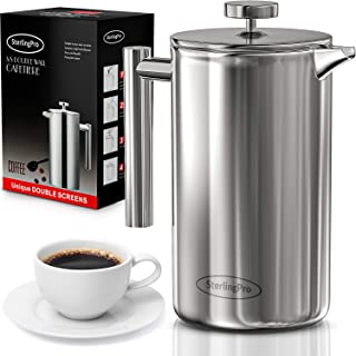 SterlingPro French Press Coffee Maker(1.75L)-Double Walled Large Coffee Press with 2 Free..