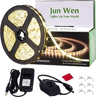 Dimmable LED Strip Light Kit,JUNWEN Warm White Rope Lights,Waterproof 16.4 FT/5M Tape..