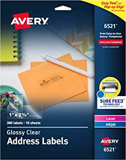 "Avery Glossy Crystal Clear Address Labels for Laser & Inkjet, 1"" x 2-5/8"",.."