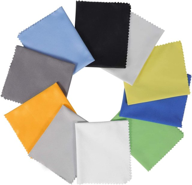 """18 Pack Assorted Colors Microfiber Cleaning Cloths - 18"""" x 18"""" Microfiber  Glasses Cloth - Great for Cleaning Eyeglasses, Cell Phones, Screens,  Lenses,"""