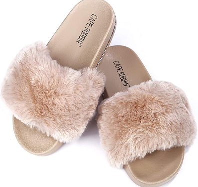 Cape Robbin Boo Furry Faux Fur Slides Slippers for Women, Fluffy Slippers