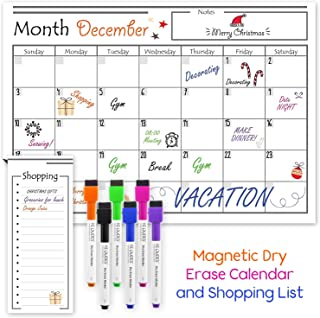 USA Made Magnetic Dry Erase Calendar for Refrigerator with 6 Markers & Magnetic..