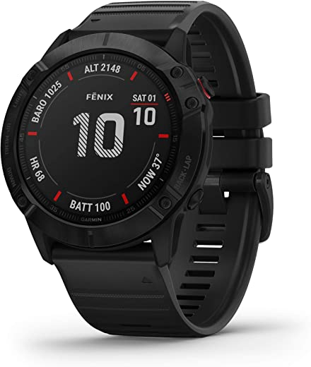 Garmin Fenix 6X Pro, Premium Multisport GPS Watch, features Mapping, Music, Grade-Adjusted Pace Guidance and Pulse Ox Sensors, Black