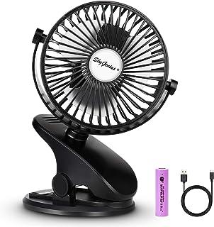 SkyGenius Battery Operated Stroller Fan, Rechargeable USB Powered Mini Clip on Desk Fan