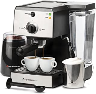 EspressoWorks 7 Pc All-In-One Espresso Machine & Cappuccino Maker Barista Bundle Set..