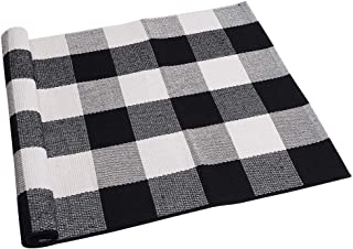 """SEEKSEE 100% Cotton Plaid Rugs Black/White Checkered Plaid Rug Hand-Woven Buffalo Checkered Doormat Washable Porch Kitchen Area Rugs (23.5""""×35.4"""")"""