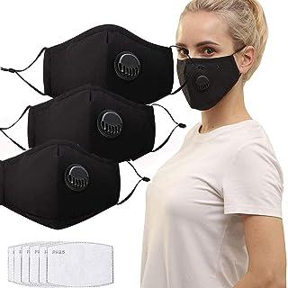 QILU Filtered Face Mask - Face Masks for Glasses Wearers - Face Masks Washable with Filter - Mesh Mask Breathable - Cotton...