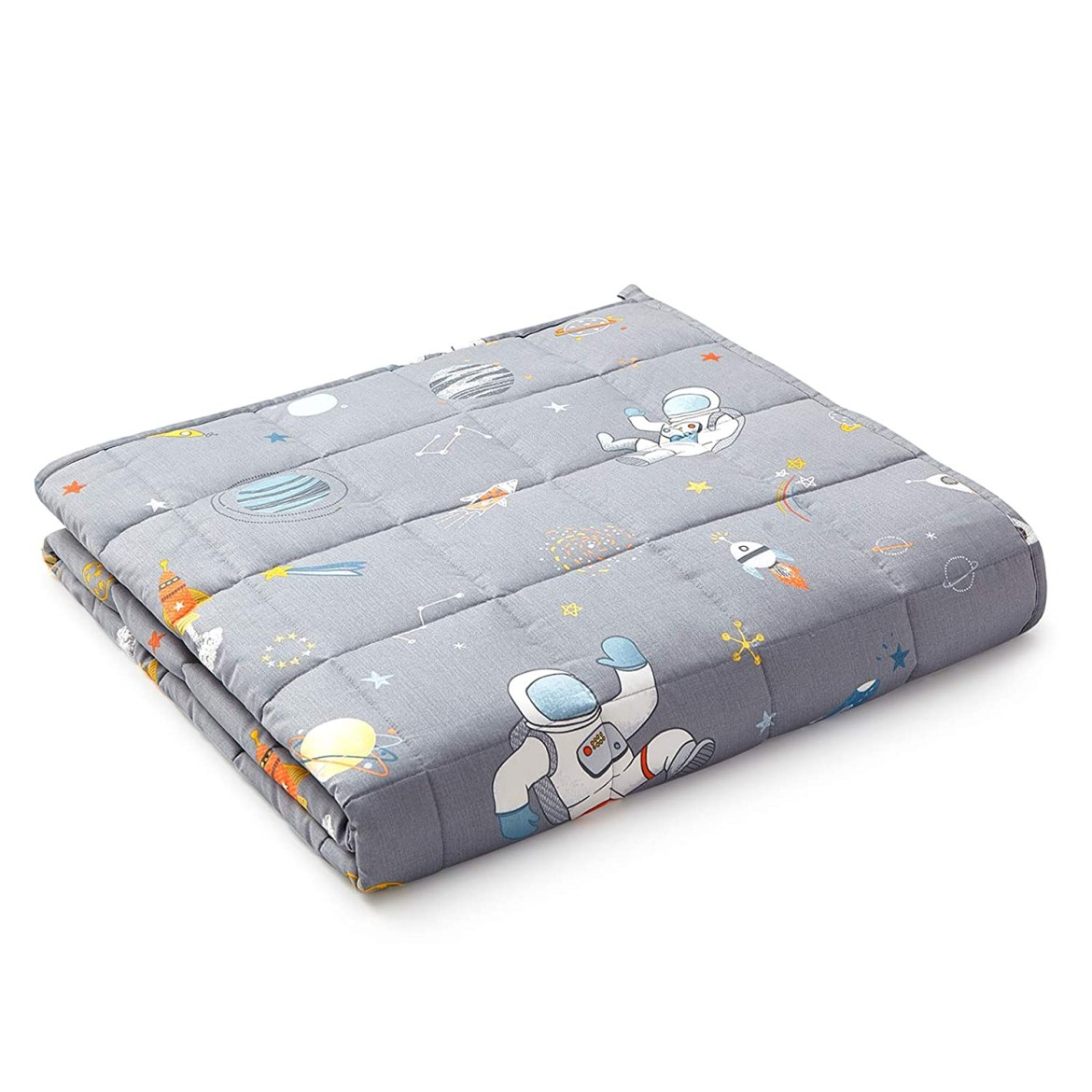 YnM Kids Weighted Blanket — Organic Long Stapled Cotton Material with Premium Glass Beads (Astronaut , 41''x60'' 10lbs), Suit for One Person(~90lb) Use on Twin Bed