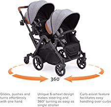 Contours Curve Tandem Double Stroller for Infants, Toddlers or Twins – 360°..
