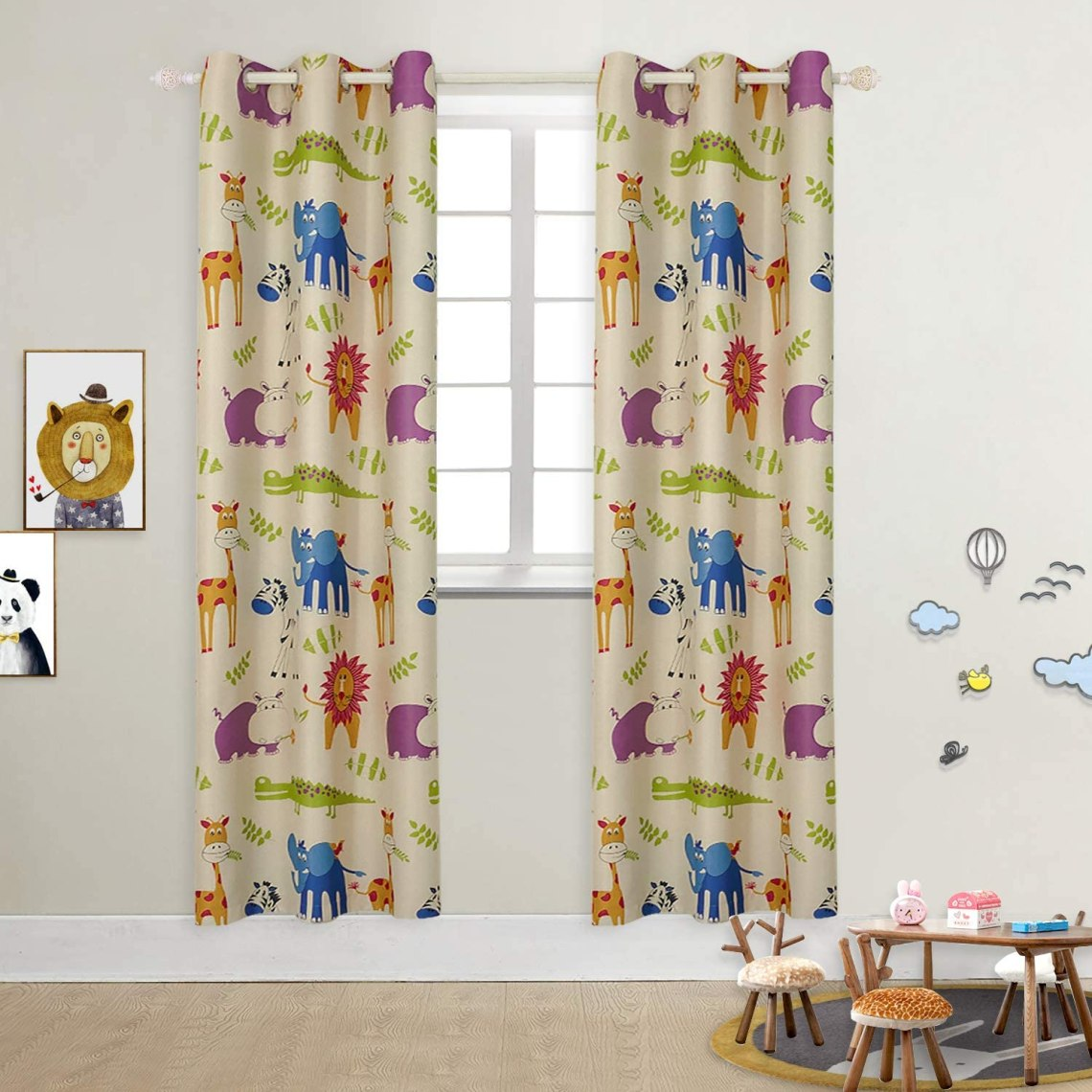 Buy Bgment Kids Blackout Curtains Grommet Thermal Insulated Room Darkening Printed Animal Zoo Patterns Nursery And Kids Bedroom Curtains Set Of 2 Curtain Panels 42 X 84 Inch Beige Zoo Online In Turkey B075pcsdps