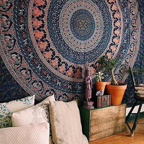 Craftozone, arazzo mandala in stile indiano, con elefanti e pavoni, da appendere alla parete, stile...