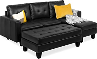 Best Choice Products Tufted Faux Leather 3-Seat L-Shape Sectional Sofa Couch Set w/Chaise..