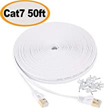 Jadaol Cat 7 Ethernet Cable 50 ft Shielded, Solid Flat Internet Network Computer patch..