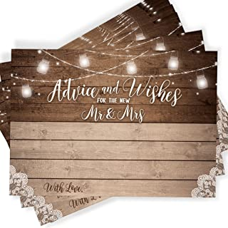 50 Rustic Wedding Advice Cards and Well Wishes for The Bride and Groom, Guest Book..