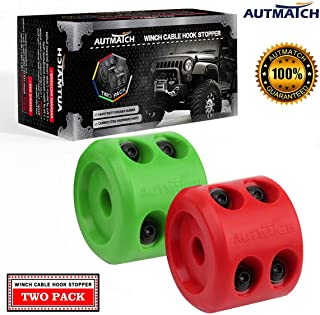 AUTMATCH Winch Cable Hook Stopper (2 Pack) Silicone Rubber Shock Absorbent Winch Stopper..