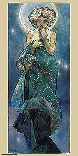 Culturenik Alphonse Mucha Moon Decorative Fine Art Nouveau Print (Unframed 12×24 Poster)