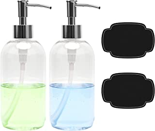 ULG Soap Dispensers Bottles 16oz Countertop Lotion Clear with Stainless Steel Pump Empty..