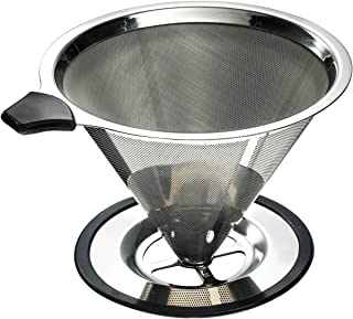 Stainless Steel Pour Over Coffee Cone Dripper with Cup Stand – Paperless and..