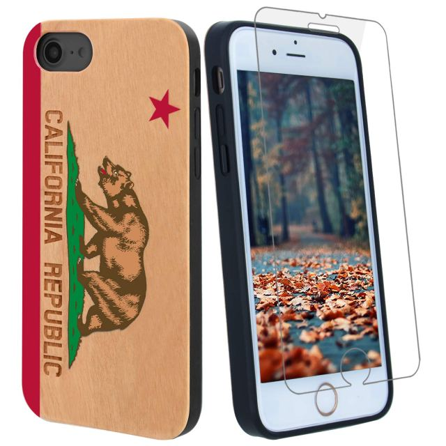 California Republic Flag 3D Color Wood Phone Case Compatible with iPhone X, XS Includes Strong 9H Glass Screen Protector
